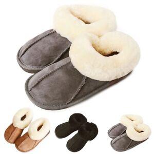 6e5947d79d96 Image is loading 2019-Womens-Mens-Winter-Natural-Sheepskin-Fur-Slippers-