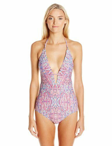 NANETTE LEPORE SOLANA BEACH PLUNGE HALTER ONE PIECE SWIMSUIT MULTI XSMALL  140