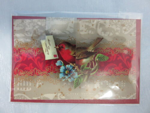 Kleine Grußkarte 17340 mit Magnetlesezeichen Vogel Weihnachten