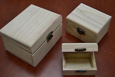 3 PCS HANDMADE HAND CARVED WOOD CHEST JEWELRY BOX #F-20