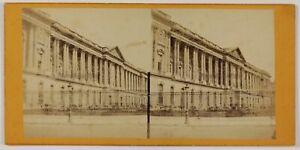 Louvre-Facade-Parigi-Francia-Foto-Stereo-L6n71-Vintage-Albumina-c1870