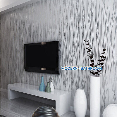Modern Stripe Wallpaper Grey Silver Embossed Glitter Lined Silk