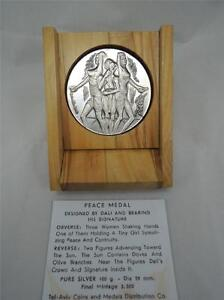SALVADOR-DALI-SHALOM-PEACE-MEDAL-59mm-100g-PURE-SILVER-COA-OLIVE-WOOD-BOX
