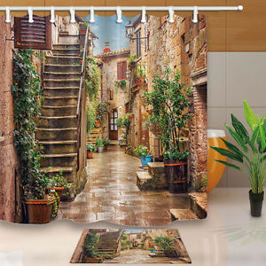 Image Is Loading Mediterranean Town Street Waterproof Fabric Shower Curtain Amp