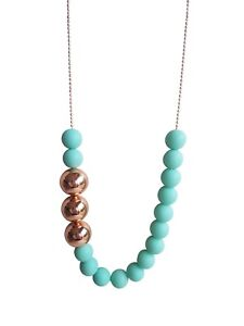 Handmade-Acrylic-Necklace-Matte-Pastel-Aqua-with-Rose-Gold-Copper-Feature-Beads