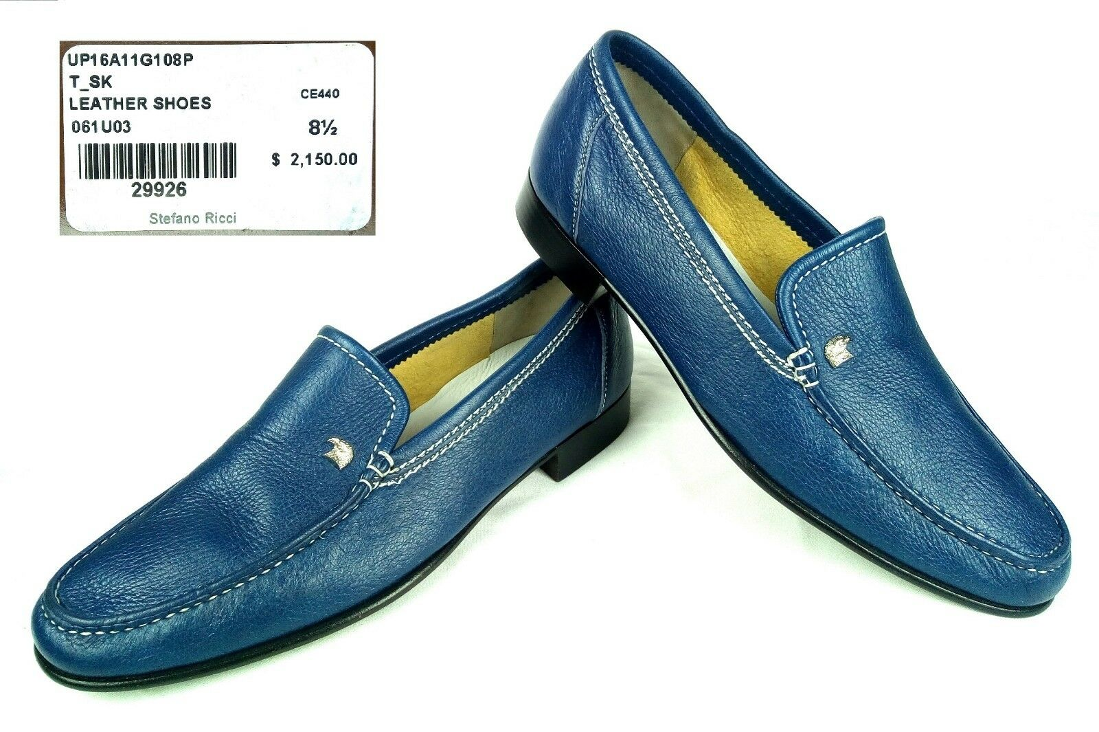 100% Authentic STEFANO RICCI Leather Loafers shoes 8.5 UK   9.5 US  2150 NEW