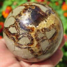 13.6OZ Natural Dragon Septarian Stone Crystal Sphere Ball