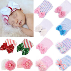 Newborn Baby Infant Girl Comfy Big Flower Bowknot Hospital Cap Beanie Hat Sequin