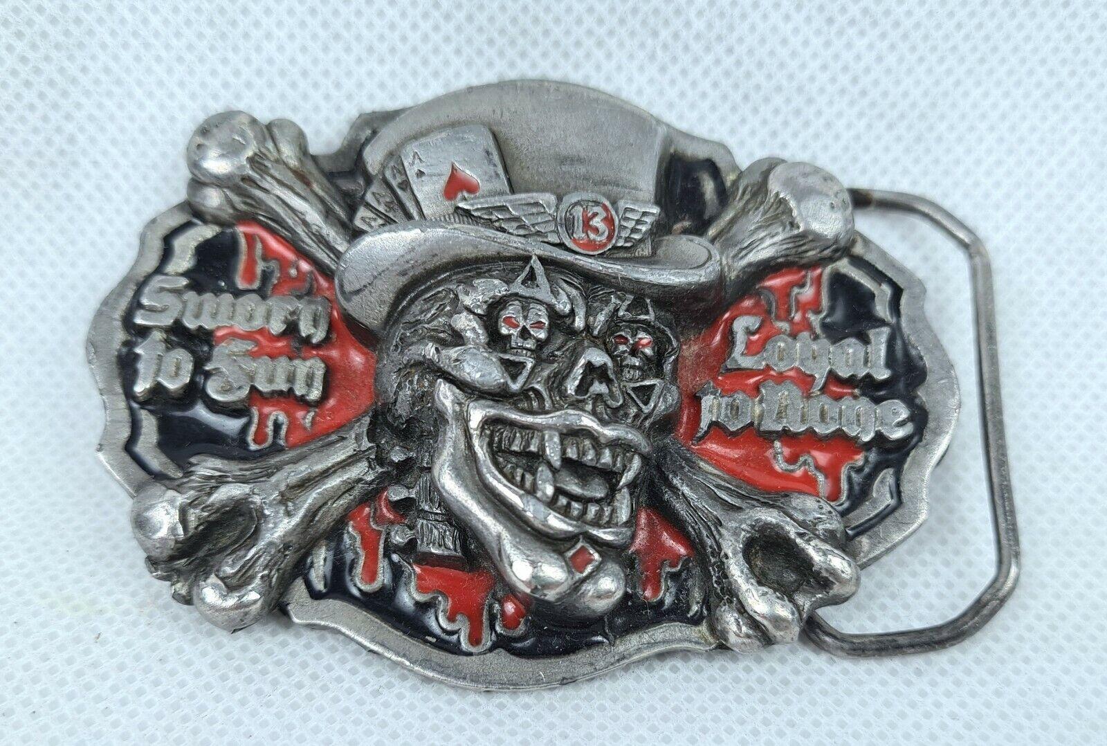 Vintage USA GAP 1993 Metal Belt Buckle Skull