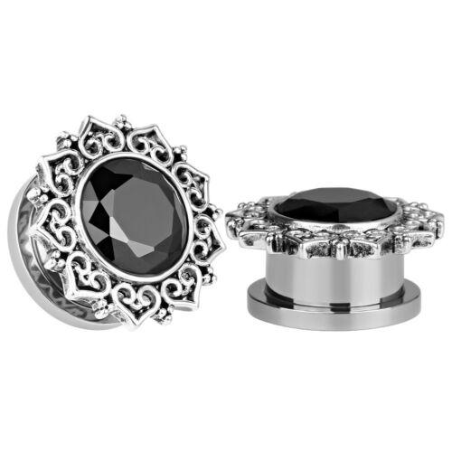SILVER BLACK GEM HEARTS Ear Plugs Piercing Tunnel Stretchers Jewellery PL177