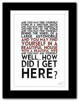 TALKING HEADS Once In A Lifetime ❤ song lyrics typography poster art print #104