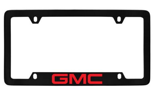 GMC Red Logo Black Coated Metal Bottom Engraved License Plate Frame Holder