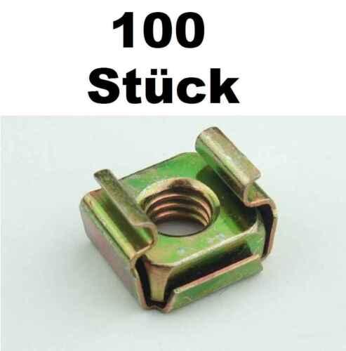 100 St. Käfigmuttern für Stahl Rackschiene Käfigmutter Stahlrack Serverschrank