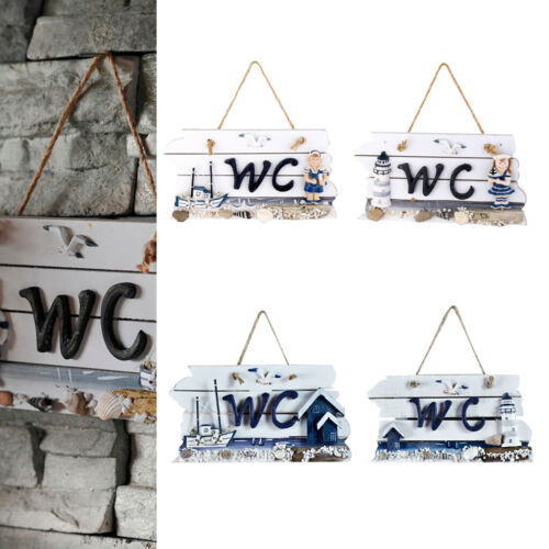 Nautical Hand Carved Hanging Wooden WC//Welcome Plaque Sign Board Wall Decoration