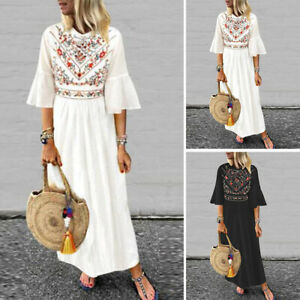 ZANZEA-Women-Flared-Sleeve-Casual-Floral-Print-Shirt-Dress-Long-Maxi-Dress-Plus