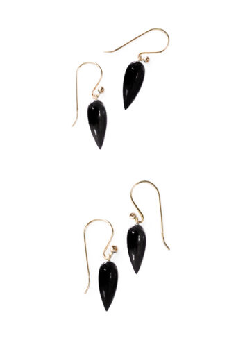 18k 14k Yellow Solid Gold Black Onyx Icicle Dangle Earrings W// Lever Back Option