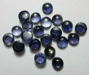 SALE-GREAT-Lot-Of-Natural-Iolite-4x4-mm-Round-Cabochon-Loose-Gemstone