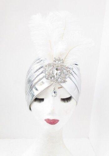 Silver White Diamante Ostrich Feather Turban Headpiece 1920s Fascinator Vtg 5523