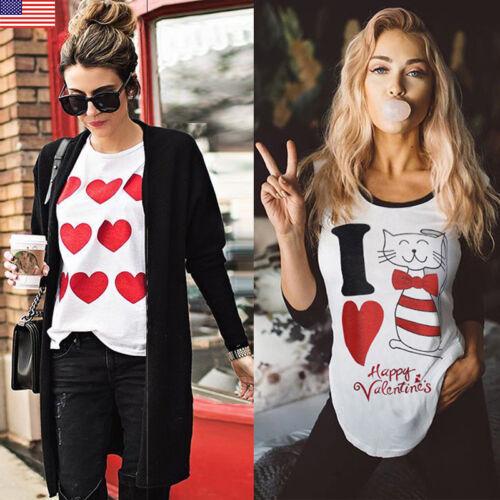 Fashion Women/'s Love Casual Long Sleeve Sweatshirt Pullover Tops Blouse T-Shirt