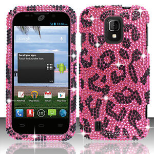 Straight-Talk-ZTE-Majesty-796C-Crystal-Diamond-BLING-Hard-Case-Hot-Pink-Leopard