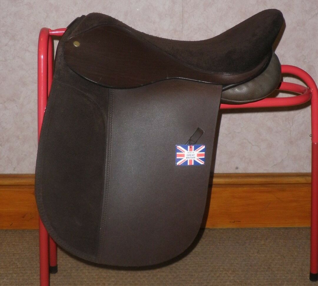 braun English Leather Saddle By Citation With Suede Seat & Knee Rolls 17  Wide