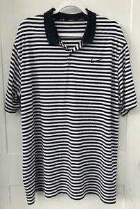 Nike-Golf-Dri-Fit-Men-039-s-XXL-Navy-Blue-White-Striped-Short-Sleeve-Polo-Button-up