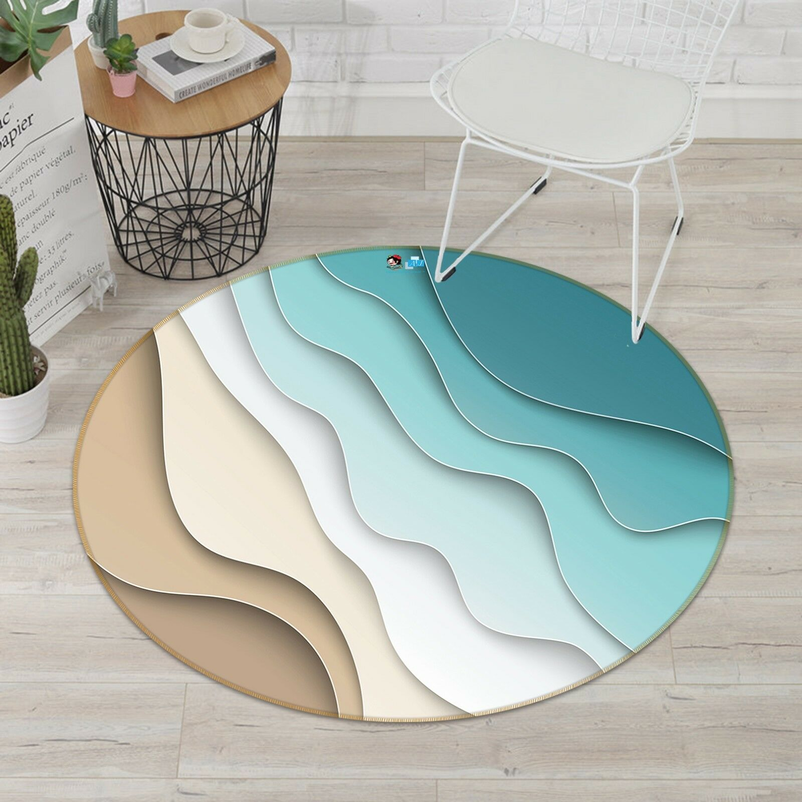 3D Sand Beach Texture 4 Non Slip Rug Room Mat Round Quality Elegant Photo Carpet
