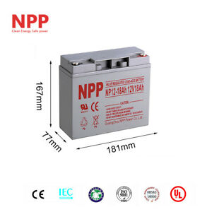 NPP 12V 18Ah Rechargeable Deep Cycle Scooter Battery D5745 40648 WP18-12 6FM18