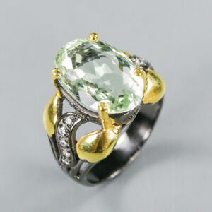Green Amethyst Ring 925 Sterling Silver Size 8.5 /RT20-0085