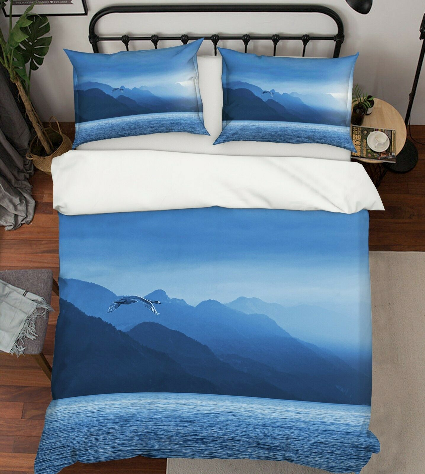 3D See Berg C69 Tier Bett Kissenbezüge Decke Bettdecke Abdeckung Set Wendy