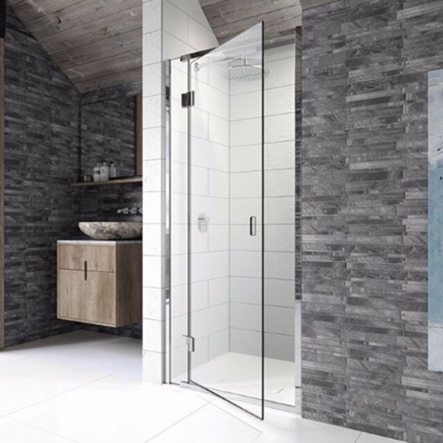 Frameless Hinged Shower Door And Panel.Kudos Pinnacle8 Hinged Door Shower Enclosure 8mm Glass Bathroom Side Panel