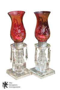 2-Victorian-Style-Ruby-Glass-Etched-Hurricane-Budoir-Crystal-Table-Lamps-Prisms
