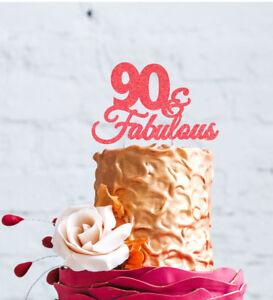 Sensational 90Th Birthday Cake Topper 90 Fabulous Cake Topper Glittery Funny Birthday Cards Online Ioscodamsfinfo