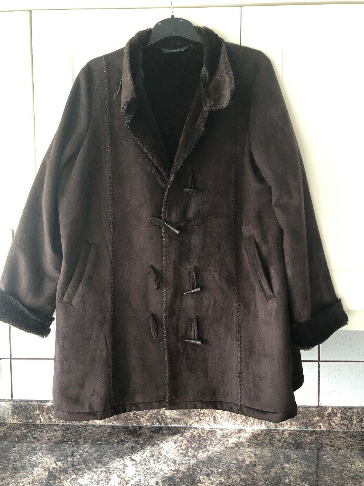 Ladies Size 18 Brown Suede Effect Short Coat From Bonmarche