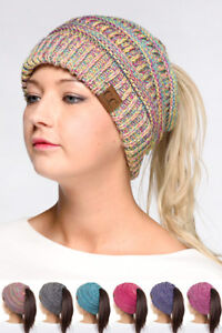 03a27b10aa5 Image is loading ScarvesMe-C-C-Four-Tone-Beanietail-Ponytail-Messy-Bun-