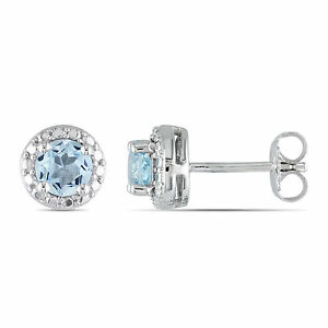 Amour Sterling Silver 1 Ct TGW Sky Blue Topaz Stud Earrings 925