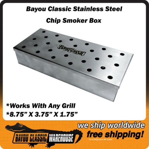 Stainless Steel Wood Chip Smoker Box Bayou Classic Works With Any Grill