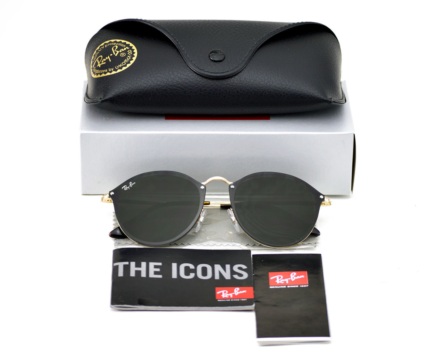 ca43ce01eff Ray-Ban Sunglasses Blaze Round Gold Green Classic Rb3574n 001 71 59 ...