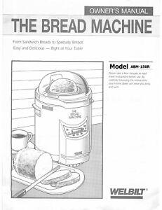 Welbilt ABM3900 Bread Machine Operator Instruction Maint Manual /& Recipes CD