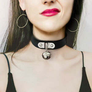 Goth/Punk - Black Choker with bell pendant.