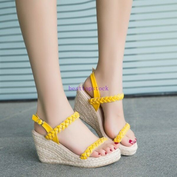 Fashion Summer Womens Wedge High Heel Buckle Strap Sweet Dress Sandal shoes New