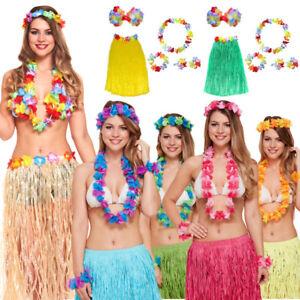 LADIES 40CM HAWAIIAN HULA GRASS SKIRT /& BRA LEI SET 6PC HULA FANCY DRESS COSTUME