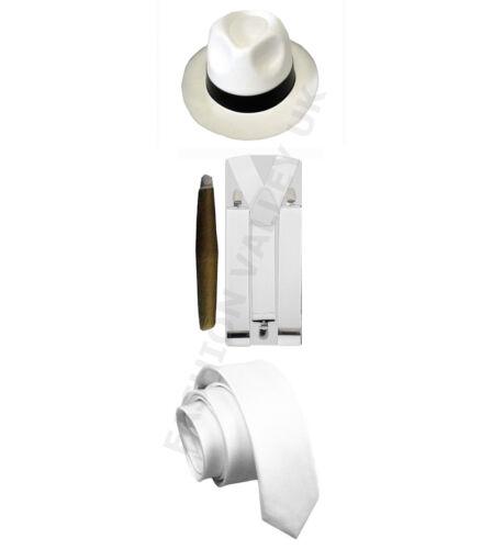 MENS GANGSTER PIMP THEME WHITE BLACK HAT BRACES TIE CIGAR 1920/'S PARTY OUTFIT