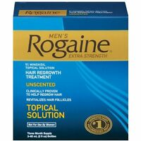 4 Pack Men's Rogaine Extra Strength Hair Regrowth Treatment Unscented 3 Month Ea on sale