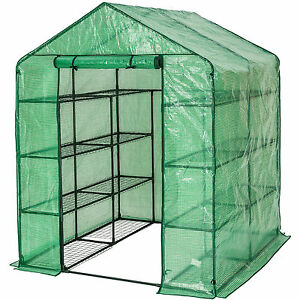 Image is loading Greenhouse-with-shelf-PVC-cover-growhouse-outdoor-tent-  sc 1 st  eBay & Greenhouse with shelf PVC cover growhouse outdoor tent house ...