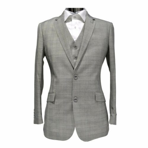 Statement Men Modern Fit Checked 100/% Wool Notch Lapel Vested Suit STZV-706 Grey