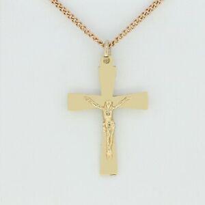9ct Collar De Oro-Colgante Con Crucifijo En Cruz De Oro Amarillo 9ct & 9ct Oro Rosa de la cadena