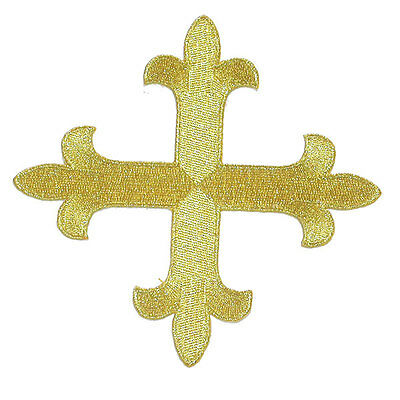 "12"" (305mm) Metallic Gold Equal Cross Iron On Applique x 1"