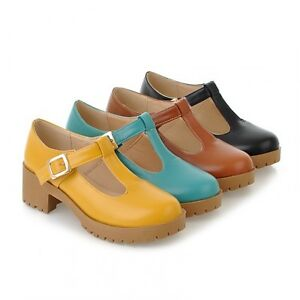 Womens-Chic-T-Bars-Round-Toe-Cuban-Heel-Platform-Oxford-Brogue-Shoes-Plus-Size