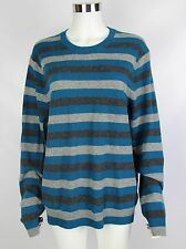 Banana Republic Mens Size Large Blue Gray Striped Wool Cashmere Blend Sweater